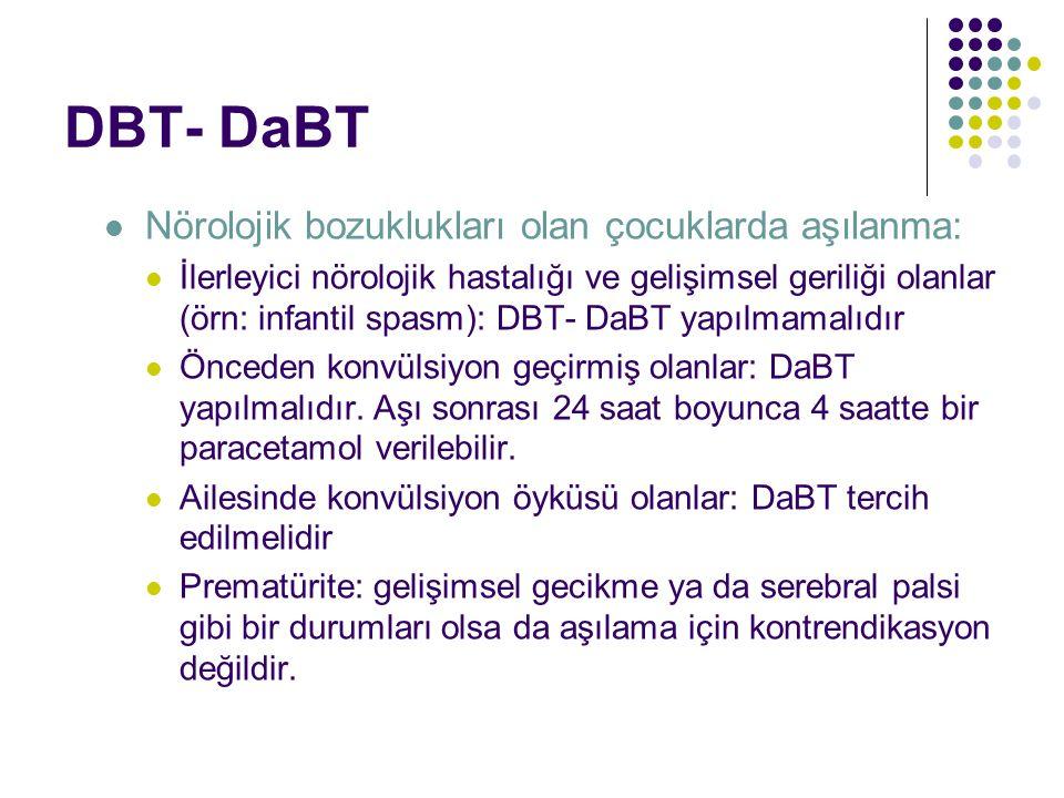 DBT- DaBT Nörolojik bozuklukları olan çocuklarda aşılanma: İlerleyici nörolojik hastalığı ve gelişimsel geriliği olanlar (örn: infantil spasm): DBT- DaBT yapılmamalıdır Önceden konvülsiyon geçirmiş olanlar: DaBT yapılmalıdır.