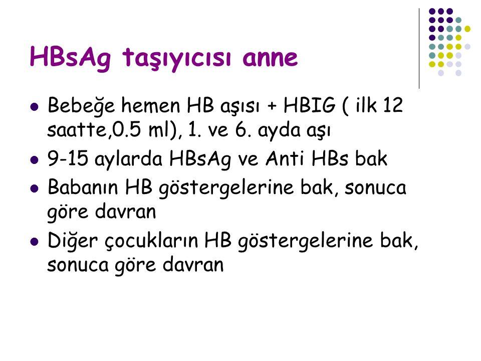 HBsAg taşıyıcısı anne Bebeğe hemen HB aşısı + HBIG ( ilk 12 saatte,0.5 ml), 1.