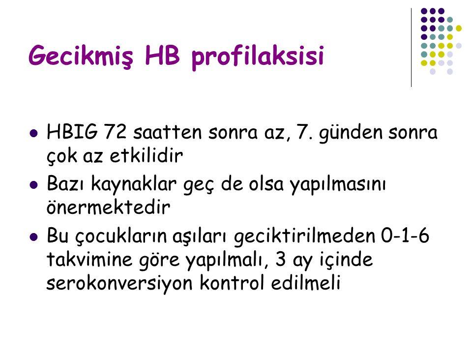Gecikmiş HB profilaksisi HBIG 72 saatten sonra az, 7.
