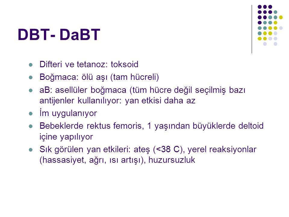 DBT- DaBT Difteri ve tetanoz: toksoid Boğmaca: ölü aşı (tam hücreli) aB: asellüler boğmaca (tüm hücre değil seçilmiş bazı antijenler kullanılıyor: yan etkisi daha az İm uygulanıyor Bebeklerde rektus femoris, 1 yaşından büyüklerde deltoid içine yapılıyor Sık görülen yan etkileri: ateş (<38 C), yerel reaksiyonlar (hassasiyet, ağrı, ısı artışı), huzursuzluk