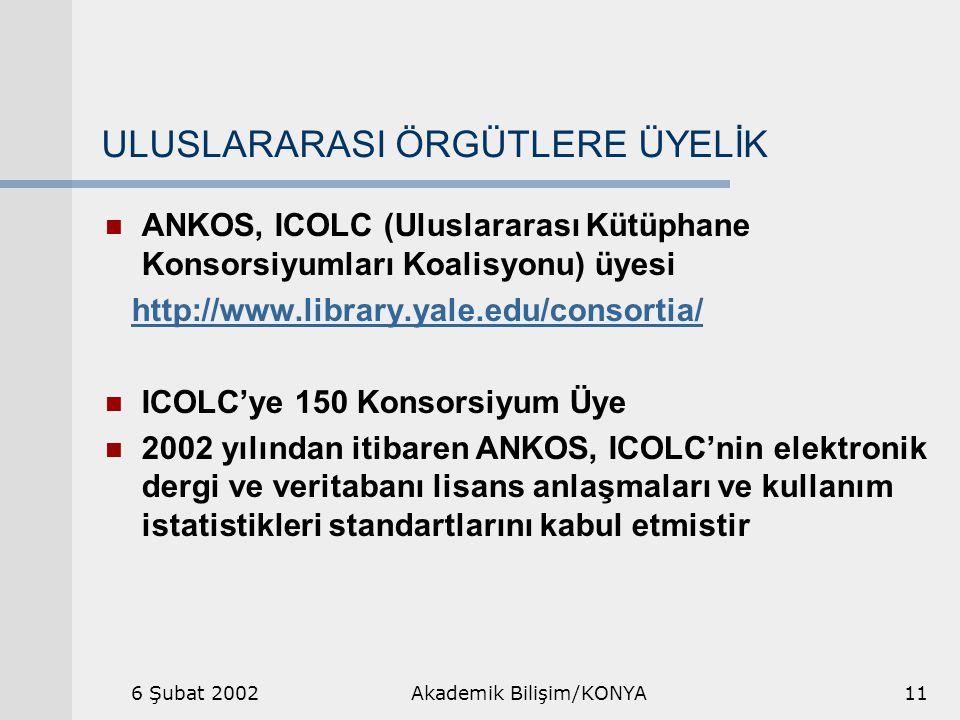 6 Şubat 2002Akademik Bilişim/KONYA11 ULUSLARARASI ÖRGÜTLERE ÜYELİK ANKOS, ICOLC (Uluslararası Kütüphane Konsorsiyumları Koalisyonu) üyesi http://www.library.yale.edu/consortia/ ICOLC'ye 150 Konsorsiyum Üye 2002 yılından itibaren ANKOS, ICOLC'nin elektronik dergi ve veritabanı lisans anlaşmaları ve kullanım istatistikleri standartlarını kabul etmistir