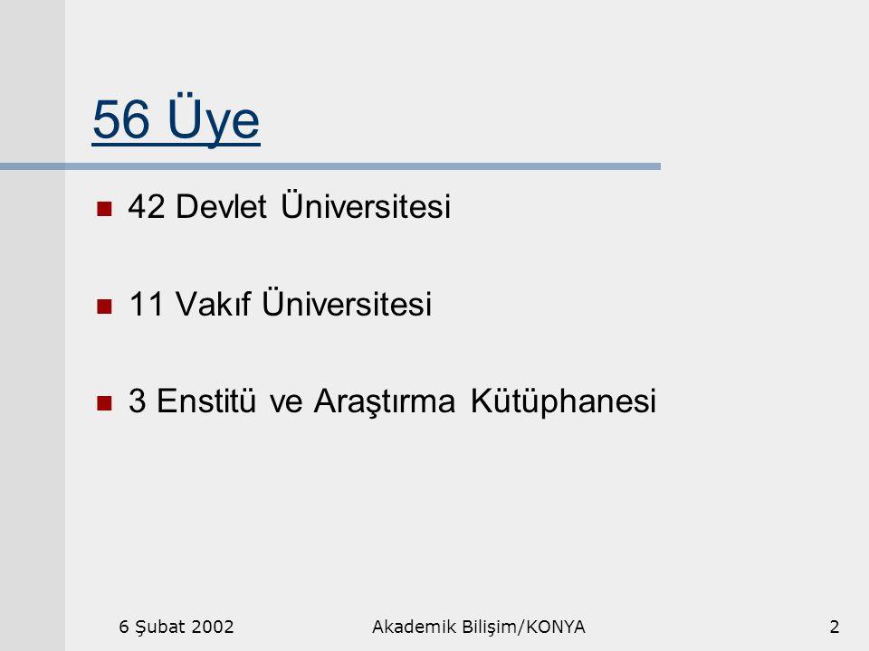 6 Şubat 2002Akademik Bilişim/KONYA2 56 Üye 42 Devlet Üniversitesi 11 Vakıf Üniversitesi 3 Enstitü ve Araştırma Kütüphanesi