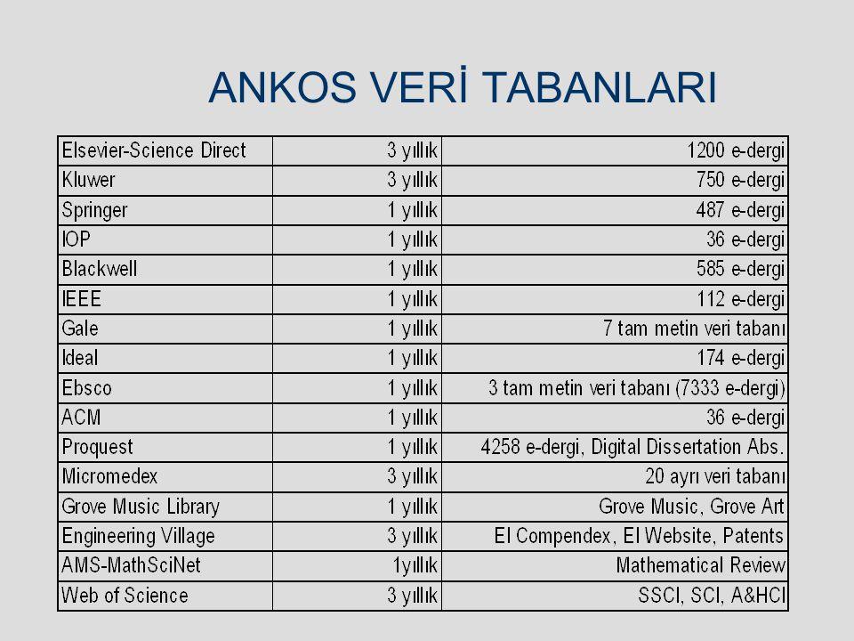 ANKOS VERİ TABANLARI