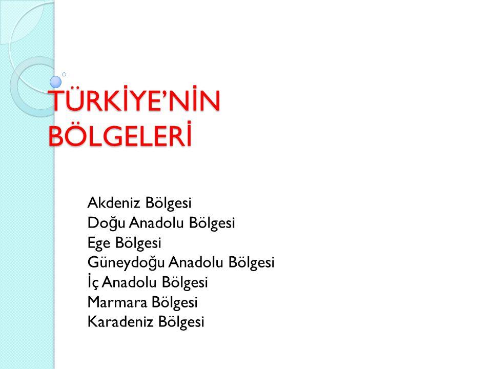 AKDEN İ Z BÖLGES İ Türkiye'nin yedi co ğ rafi bölgesinden biridir.