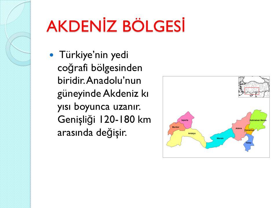 AKDEN İ Z BÖLGES İ Türkiye'nin yedi co ğ rafi bölgesinden biridir. Anadolu'nun güneyinde Akdeniz kı yısı boyunca uzanır. Genişli ğ i 120-180 km arasın
