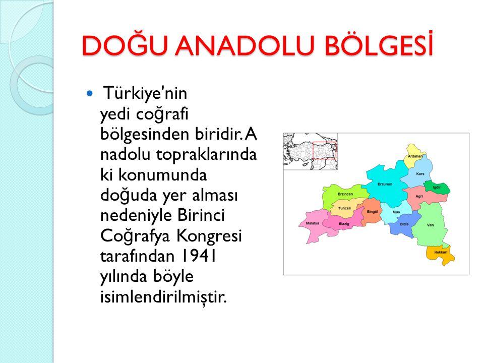 DO Ğ U ANADOLU BÖLGES İ Türkiye'nin yedi co ğ rafi bölgesinden biridir. A nadolu topraklarında ki konumunda do ğ uda yer alması nedeniyle Birinci Co ğ
