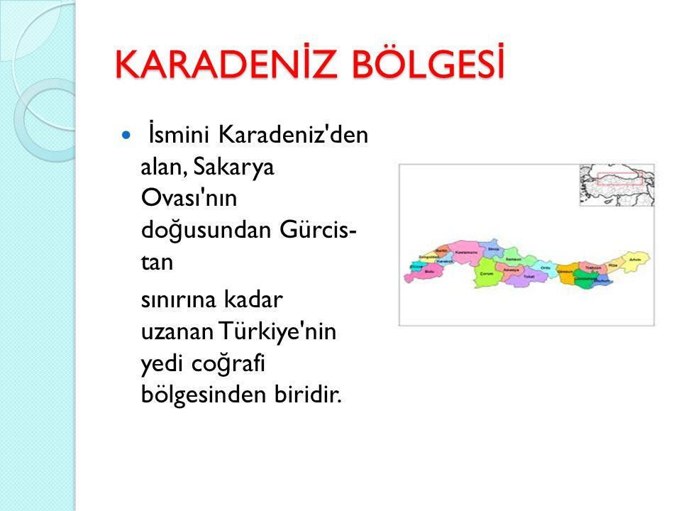 KARADENİZ BÖLGESİ İ smini Karadeniz'den alan, Sakarya Ovası'nın do ğ usundan Gürcis- tan sınırına kadar uzanan Türkiye'nin yedi co ğ rafi bölgesinden