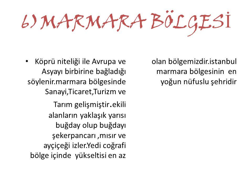 6)MARMARA BÖLGES İ Köprü niteliği ile Avrupa ve Asyayı birbirine bağladığı söylenir.marmara bölgesinde Sanayi,Ticaret,Turizm ve Tarım gelişmiştir. eki