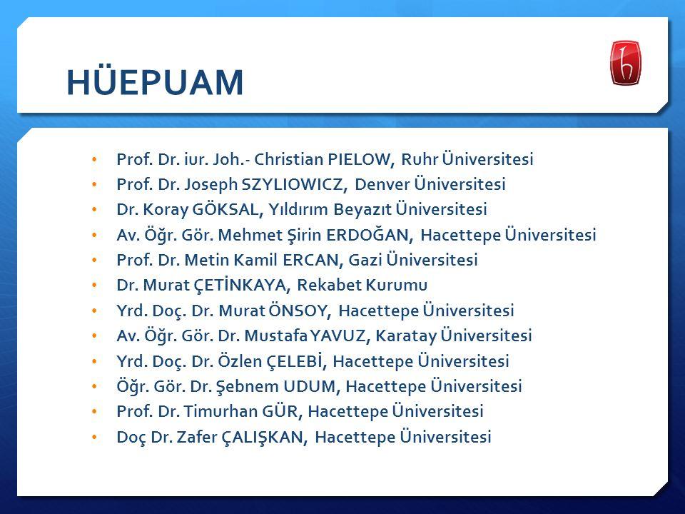 HÜEPUAM Prof. Dr. iur. Joh.- Christian PIELOW, Ruhr Üniversitesi Prof. Dr. Joseph SZYLIOWICZ, Denver Üniversitesi Dr. Koray GÖKSAL, Yıldırım Beyazıt Ü