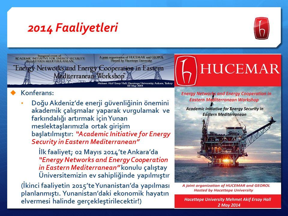 2014 Faaliyetleri  Konferans: İlki 2013'te Mersin'de yapılan Enerji Güvenliği temalı uluslararası konferans serisinin enerji güvenliğini Güneydoğu Avrupa bağlamında ele alan ikincisi 06- 08 Kasım 2014'te İzmir'de yapılmıştır: II.
