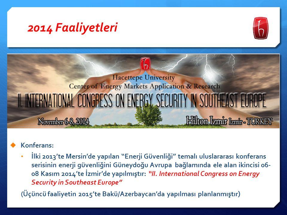 """2014 Faaliyetleri  Konferans: İlki 2013'te Mersin'de yapılan """"Enerji Güvenliği"""" temalı uluslararası konferans serisinin enerji güvenliğini Güneydoğu"""