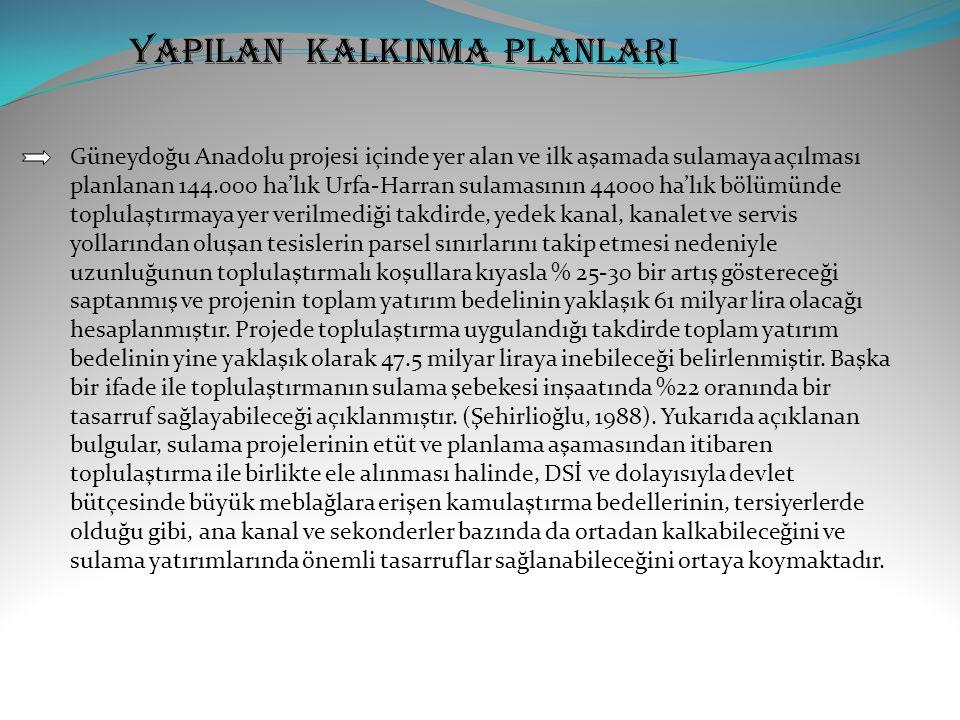 YAPILAN KALKINMA PLANLARI Güneydoğu Anadolu projesi içinde yer alan ve ilk aşamada sulamaya açılması planlanan 144.000 ha'lık Urfa-Harran sulamasının