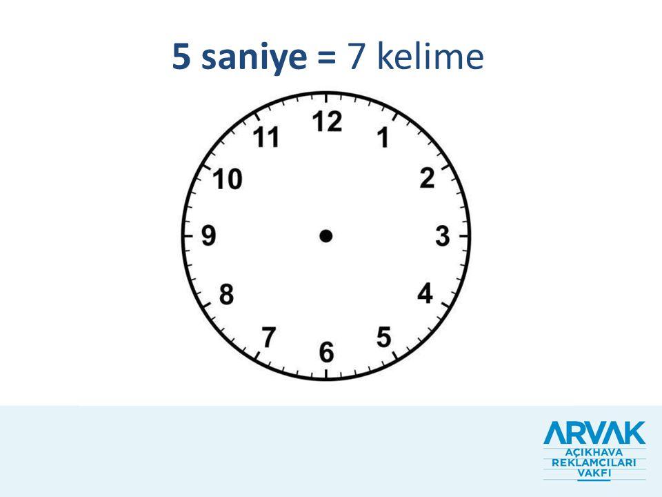 5 saniye = 7 kelime