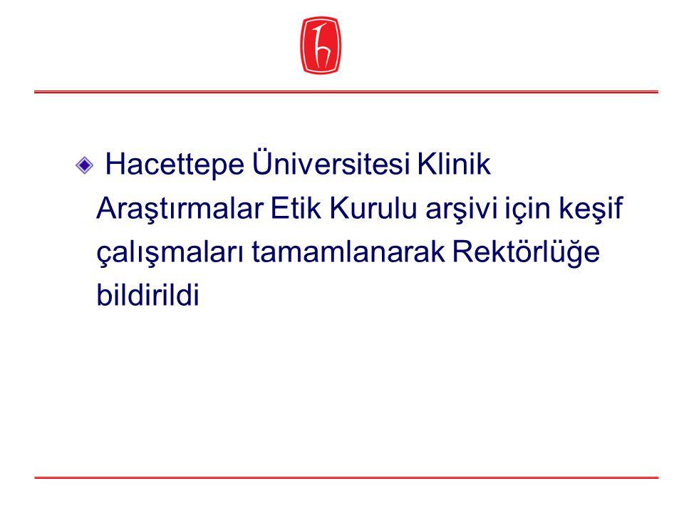 Hacettepe Üniversitesi Klinik Araştırmalar Etik Kurulu arşivi için keşif çalışmaları tamamlanarak Rektörlüğe bildirildi