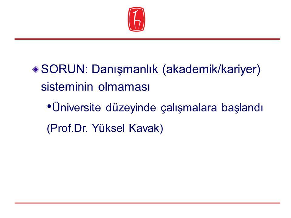 SORUN: Danışmanlık (akademik/kariyer) sisteminin olmaması Üniversite düzeyinde çalışmalara başlandı (Prof.Dr.
