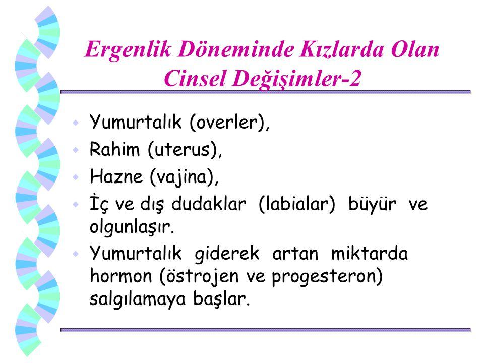 w Yumurtalık (overler), w Rahim (uterus), w Hazne (vajina), w İç ve dış dudaklar (labialar) büyür ve olgunlaşır.