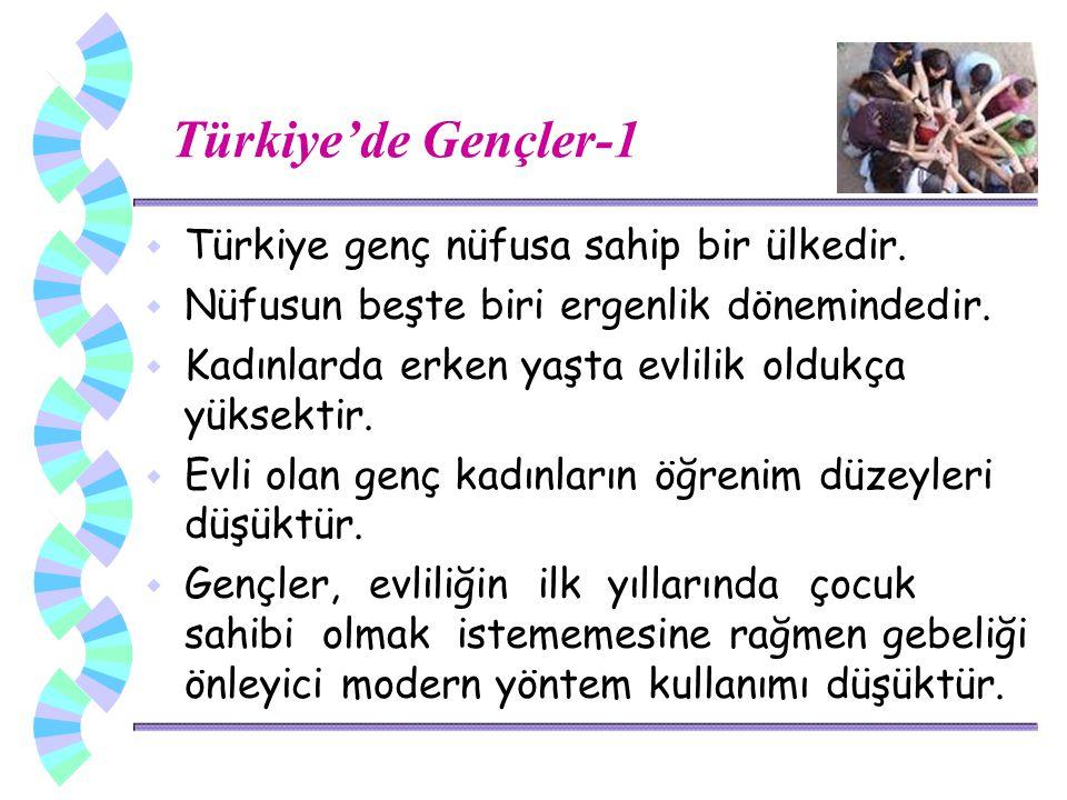 Türkiye'de Gençler-1 w Türkiye genç nüfusa sahip bir ülkedir.