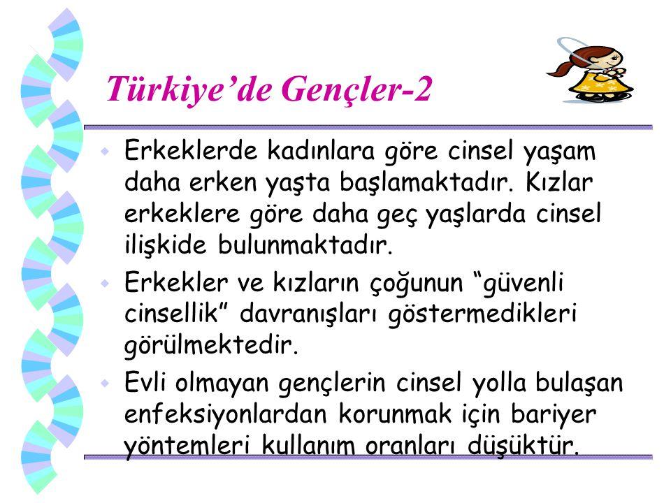 Türkiye'de Gençler-2 w Erkeklerde kadınlara göre cinsel yaşam daha erken yaşta başlamaktadır.