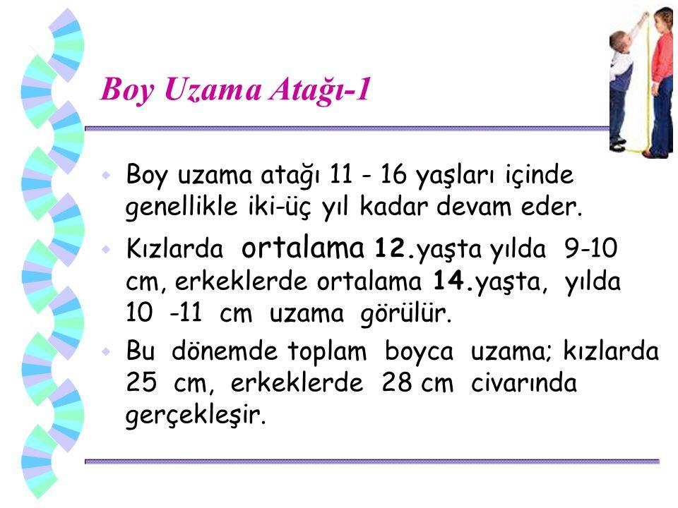 Boy Uzama Atağı-1 w Boy uzama atağı 11 - 16 yaşları içinde genellikle iki-üç yıl kadar devam eder.