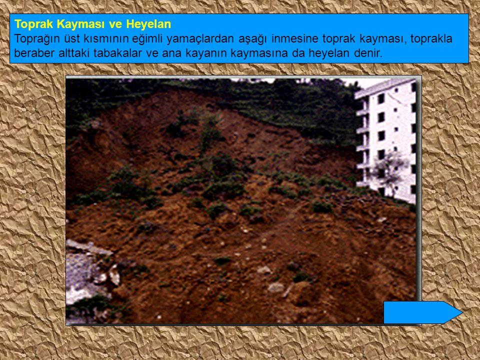 Toprak Kayması ve Heyelan Toprağın üst kısmının eğimli yamaçlardan aşağı inmesine toprak kayması, toprakla beraber alttaki tabakalar ve ana kayanın ka