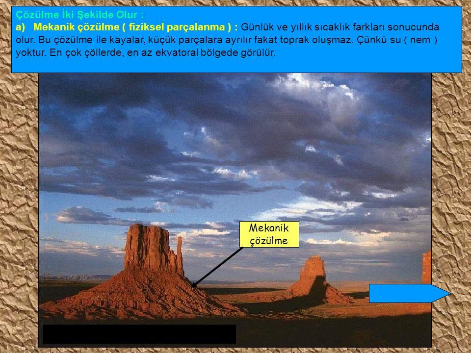b) Kimyasal çözülme : Kayaların, su ve sıcaklığa bağlı olarak ufalanmasıdır.