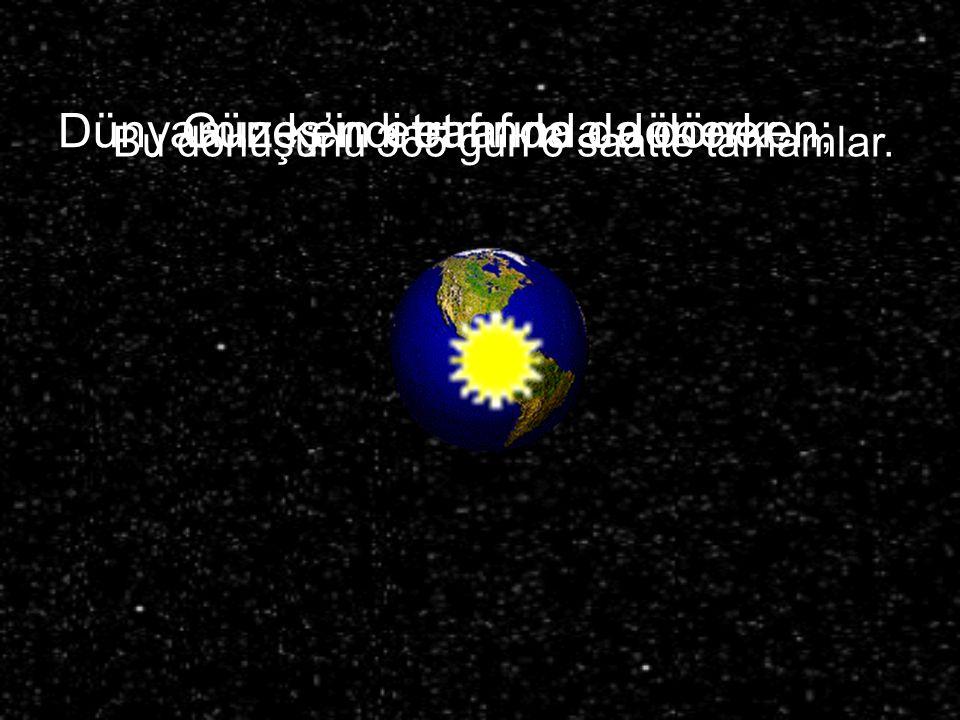 Dünyamız kendi etrafında dönerken; Güneş'in etrafında da döner. Bu dönüşünü 365 gün 6 saatte tamamlar.