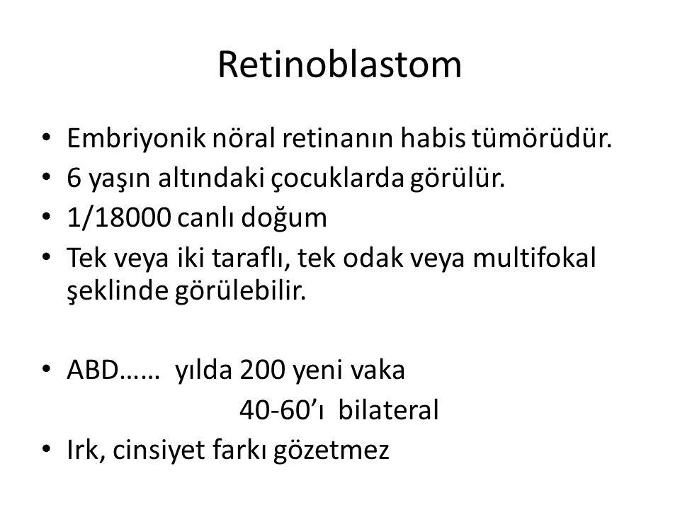 Embriyonik nöral retinanın habis tümörüdür. 6 yaşın altındaki çocuklarda görülür. 1/18000 canlı doğum Tek veya iki taraflı, tek odak veya multifokal ş