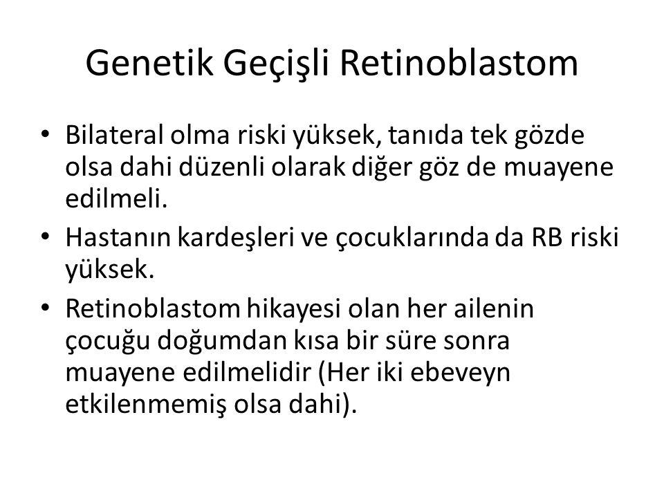 Genetik Geçişli Retinoblastom Bilateral olma riski yüksek, tanıda tek gözde olsa dahi düzenli olarak diğer göz de muayene edilmeli. Hastanın kardeşler