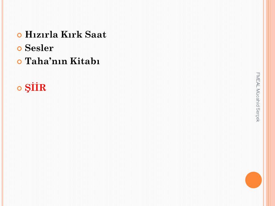 Hızırla Kırk Saat Sesler Taha'nın Kitabı ŞİİR FMEAL Mücahid Serçek