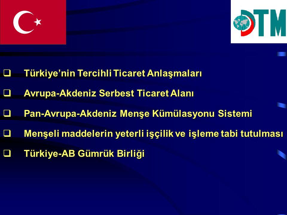  Türkiye'nin Tercihli Ticaret Anlaşmaları  Avrupa-Akdeniz Serbest Ticaret Alanı  Pan-Avrupa-Akdeniz Menşe Kümülasyonu Sistemi  Menşeli maddelerin