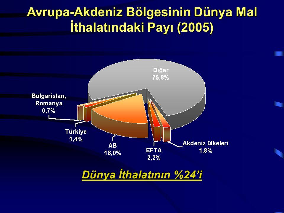 Dünya İthalatının %24'i Avrupa-Akdeniz Bölgesinin Dünya Mal İthalatındaki Payı (2005)