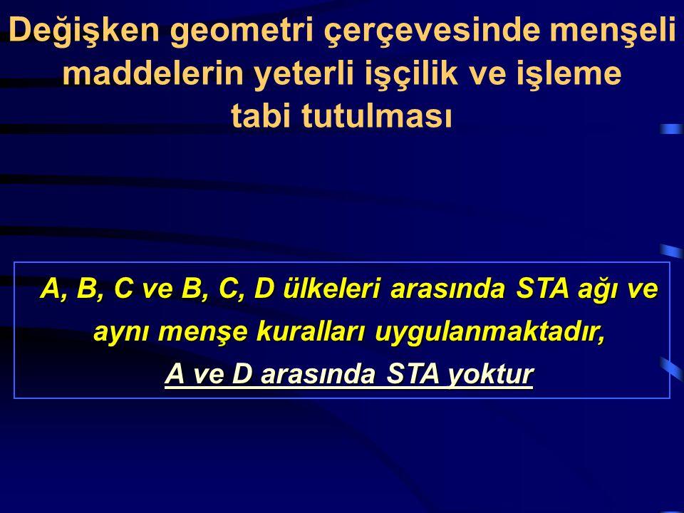 A, B, C ve B, C, D ülkeleri arasında STA ağı ve aynı menşe kuralları uygulanmaktadır, A ve D arasında STA yoktur Değişken geometri çerçevesinde menşel