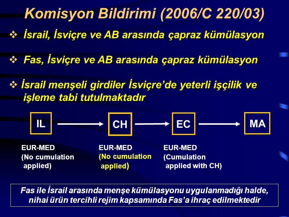 Komisyon Bildirimi (2006/C 220/03)  İsrail, İsviçre ve AB arasında çapraz kümülasyon  Fas, İsviçre ve AB arasında çapraz kümülasyon  İsrail menşeli