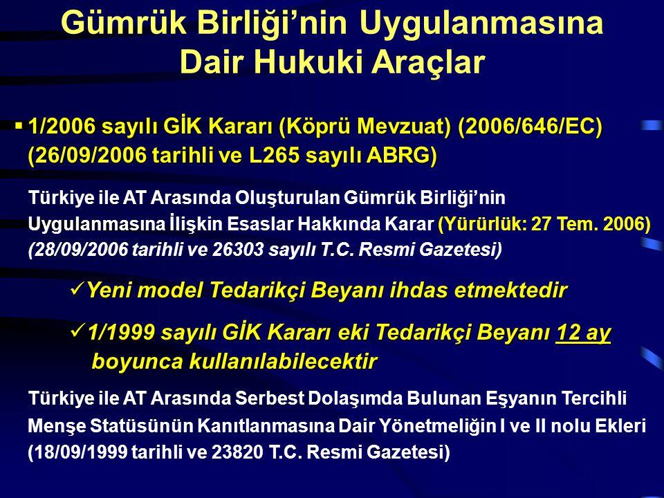  1/2006 sayılı GİK Kararı (Köprü Mevzuat) (2006/646/EC) (26/09/2006 tarihli ve L265 sayılı ABRG) Türkiye ile AT Arasında Oluşturulan Gümrük Birliği'n