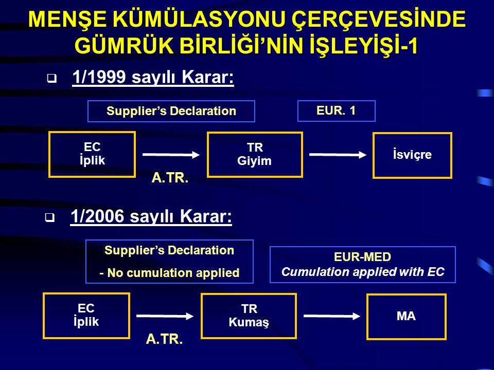 A.TR. EC İplik TR Giyim İsviçre Supplier's Declaration EUR. 1  1/1999 sayılı Karar: A.TR. EC İplik TR Kumaş MA Supplier's Declaration - No cumulation
