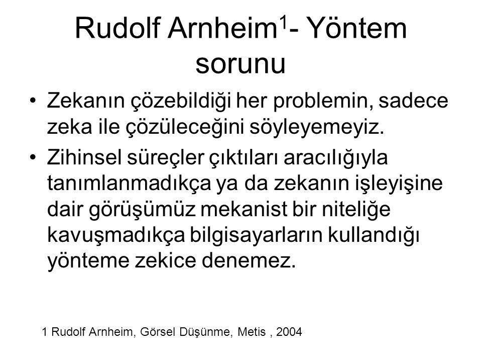 Rudolf Arnheim 1 - Yöntem sorunu Zekanın çözebildiği her problemin, sadece zeka ile çözüleceğini söyleyemeyiz. Zihinsel süreçler çıktıları aracılığıyl