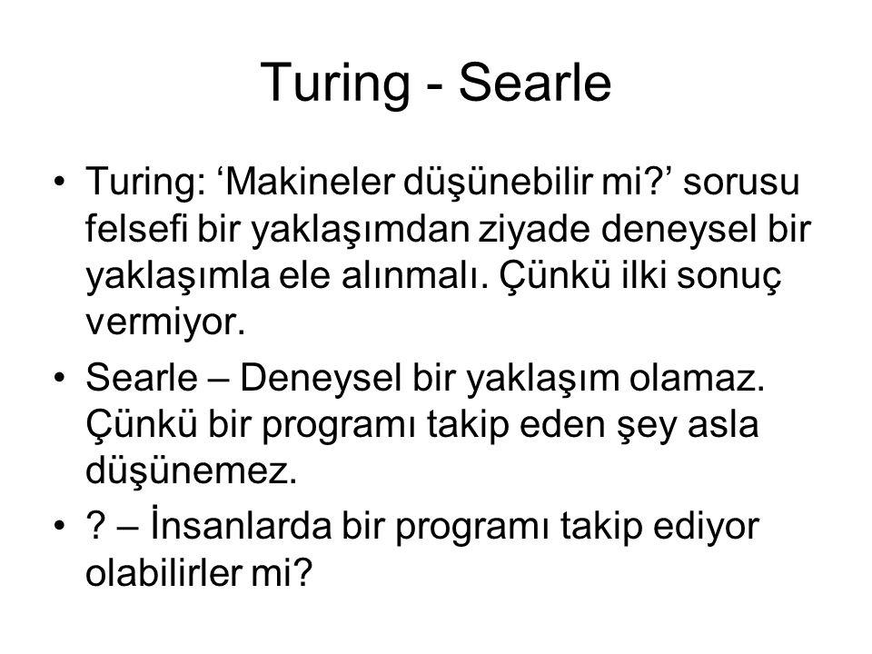 Turing - Searle Turing: 'Makineler düşünebilir mi?' sorusu felsefi bir yaklaşımdan ziyade deneysel bir yaklaşımla ele alınmalı. Çünkü ilki sonuç vermi