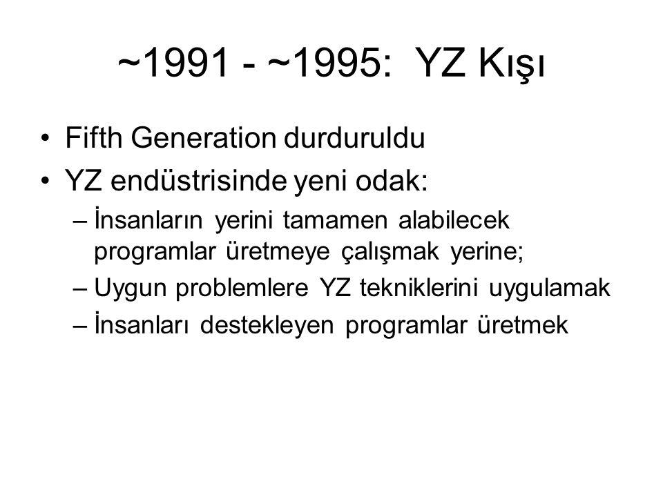 ~1991 - ~1995: YZ Kışı Fifth Generation durduruldu YZ endüstrisinde yeni odak: –İnsanların yerini tamamen alabilecek programlar üretmeye çalışmak yeri
