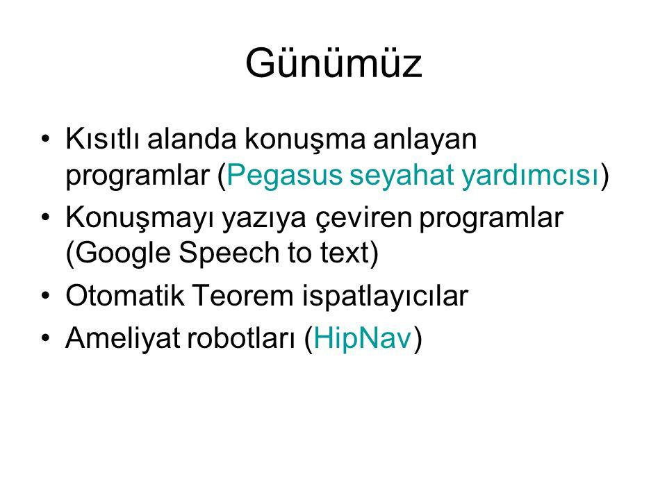 Günümüz Kısıtlı alanda konuşma anlayan programlar (Pegasus seyahat yardımcısı) Konuşmayı yazıya çeviren programlar (Google Speech to text) Otomatik Te