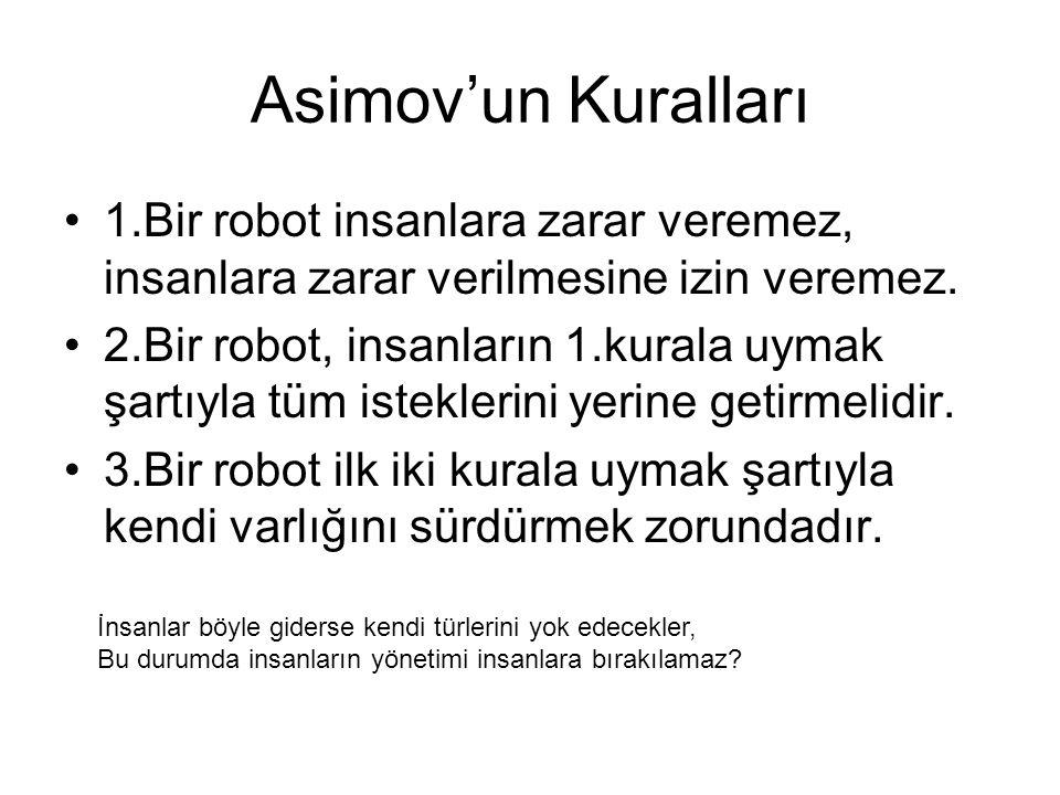Asimov'un Kuralları 1.Bir robot insanlara zarar veremez, insanlara zarar verilmesine izin veremez. 2.Bir robot, insanların 1.kurala uymak şartıyla tüm
