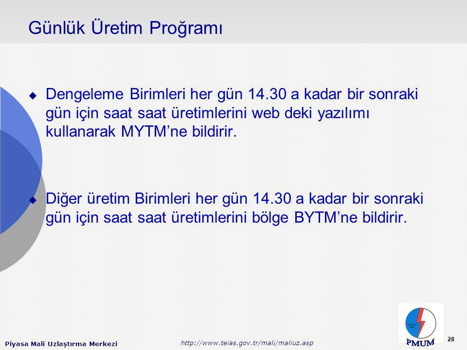 Piyasa Mali Uzlaştırma Merkezi http://www.teias.gov.tr/mali/maliuz.asp 28 Günlük Üretim Proğramı  Dengeleme Birimleri her gün 14.30 a kadar bir sonraki gün için saat saat üretimlerini web deki yazılımı kullanarak MYTM'ne bildirir.