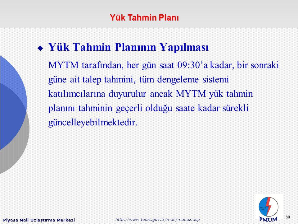 Piyasa Mali Uzlaştırma Merkezi http://www.teias.gov.tr/mali/maliuz.asp 30  Yük Tahmin Planının Yapılması MYTM tarafından, her gün saat 09:30'a kadar, bir sonraki güne ait talep tahmini, tüm dengeleme sistemi katılımcılarına duyurulur ancak MYTM yük tahmin planını tahminin geçerli olduğu saate kadar sürekli güncelleyebilmektedir.