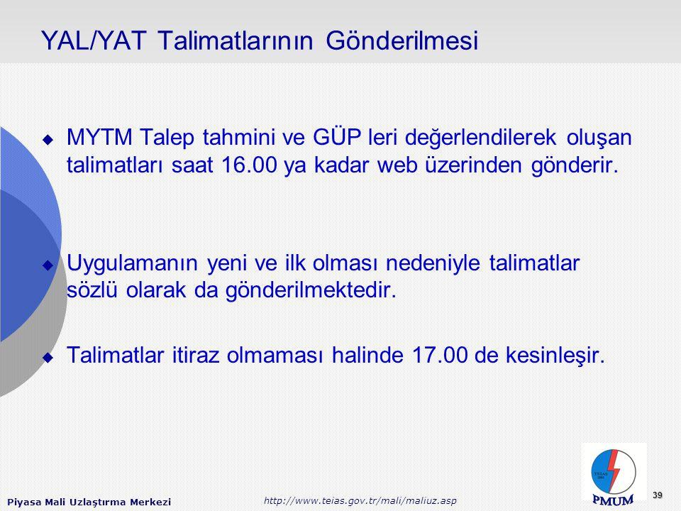 Piyasa Mali Uzlaştırma Merkezi http://www.teias.gov.tr/mali/maliuz.asp 39 YAL/YAT Talimatlarının Gönderilmesi  MYTM Talep tahmini ve GÜP leri değerlendilerek oluşan talimatları saat 16.00 ya kadar web üzerinden gönderir.