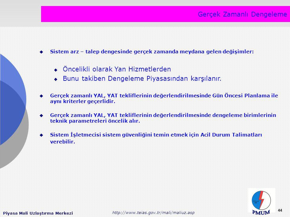 Piyasa Mali Uzlaştırma Merkezi http://www.teias.gov.tr/mali/maliuz.asp 44 Gerçek Zamanlı Dengeleme  Sistem arz – talep dengesinde gerçek zamanda meyd