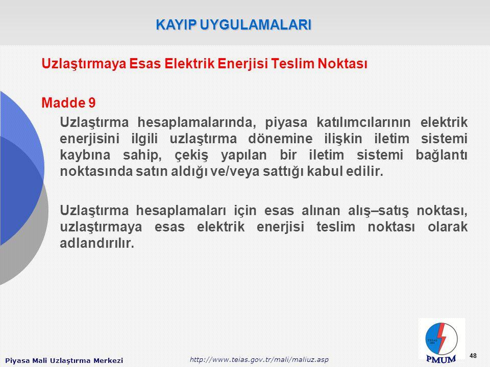 Piyasa Mali Uzlaştırma Merkezi http://www.teias.gov.tr/mali/maliuz.asp 48 Uzlaştırmaya Esas Elektrik Enerjisi Teslim Noktası Madde 9 Uzlaştırma hesapl