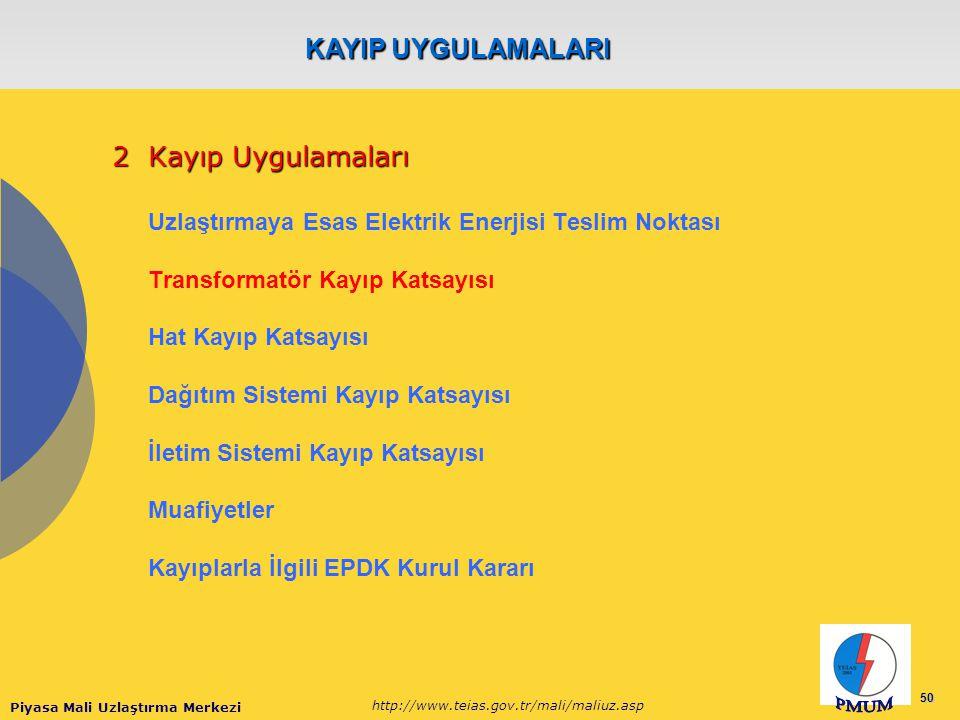 Piyasa Mali Uzlaştırma Merkezi http://www.teias.gov.tr/mali/maliuz.asp 50 2Kayıp Uygulamaları Uzlaştırmaya Esas Elektrik Enerjisi Teslim Noktası Trans