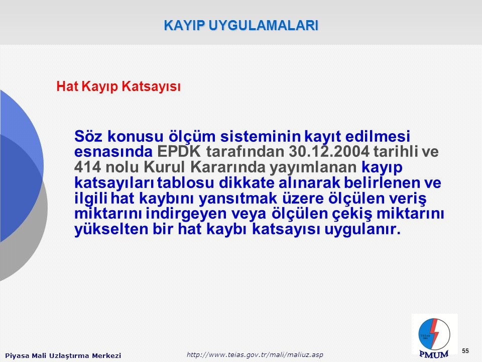 Piyasa Mali Uzlaştırma Merkezi http://www.teias.gov.tr/mali/maliuz.asp 55 KAYIP UYGULAMALARI Hat Kayıp Katsayısı Söz konusu ölçüm sisteminin kayıt edilmesi esnasında EPDK tarafından 30.12.2004 tarihli ve 414 nolu Kurul Kararında yayımlanan kayıp katsayıları tablosu dikkate alınarak belirlenen ve ilgili hat kaybını yansıtmak üzere ölçülen veriş miktarını indirgeyen veya ölçülen çekiş miktarını yükselten bir hat kaybı katsayısı uygulanır.