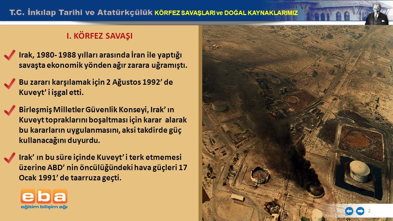 T.C.İnkılap Tarihi ve Atatürkçülük KÖRFEZ SAVAŞLARI ve DOĞAL KAYNAKLARIMIZ 3 I.