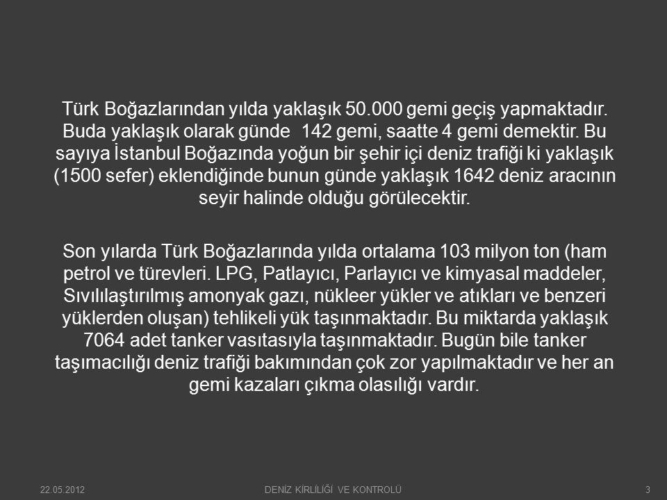 Deniz trafiğinin yarattığı çevre kirliliği: İstanbul ve Çanakkale boğazlarından geçen gemilerin yarattığı çevre kirliliğini dört ana başlıkta toplayabiliriz.