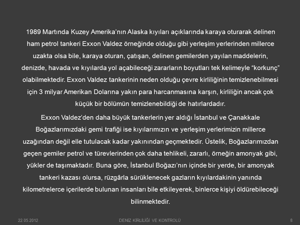 Bugüne kadar İstanbul Boğazı'nda yaşadığımız İndependenta ve Nasia tankerleri kazalarını da dikkate alarak özetlersek, İstanbul ve Çanakkale Boğazları'nda ortaya çıkacak gemi kazalarında:  Binlerce insan ölebilir,  Onarılması olanaksız boyutlarda deniz, kıyı ve hava kirliliği ortaya çıkabilir,  Değer biçilemeyen tarihi saraylar, binalar, köprüler yok olabilir,  Gemilerin tayfaları, kendileri ve yükleri zarar görür ya da tümüyle kaybedilir,  Büyük boyutlu bir kaza soncunda, Karadeniz'in dünya denizleriyle olan bağlantısı birkaç ay tümüyle kesilebilir.